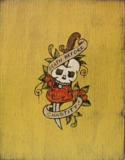Sailor Jerry Tattoo Art Death Before Chastity Skull