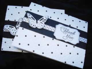 Lot Handmade Thank You Cards Stampin Up Butterfly Black