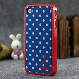 Blue and White Polka Dot Pattern Hard Case with Red Trim