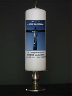 Personalized In Loving Memory Memorial Candle   Cross