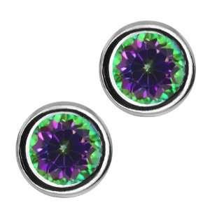 Round Green Mystic Topaz Sterling Silver bezel   Earrings 6mm Jewelry