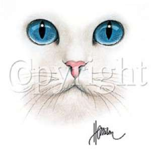 CAT FACE BIG BLUE EYES WHITE T SHIRT WOMEN SIZES