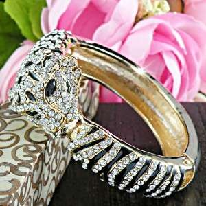Amazing Gold Tiger with Clear Swarovski Crystals Cuff Bangle Bracelet