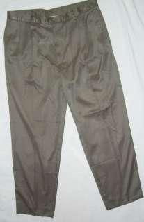 Mens Bill Blass Casuals Soft Microfiber Slate Brown Pants 38X32