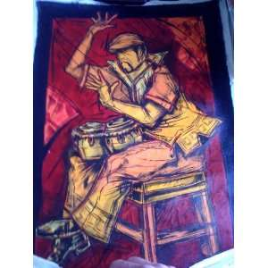 Art Oil Painting Jazz Musician Bongo Drum Player