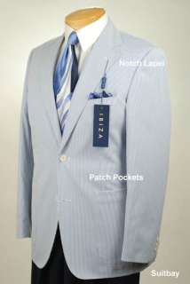 42R Mens Ibiza Blue White Striped Sport Coat   IA11