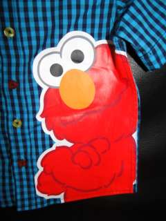 Boys Sesame Street Blue checkered Shirt with large Elmo Print BNWT