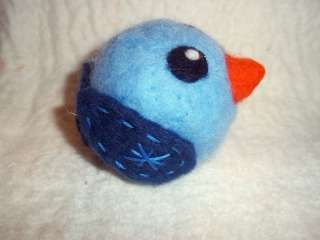 Needle Felted Birdie Ball OOAK 3 Blue Bird Cute