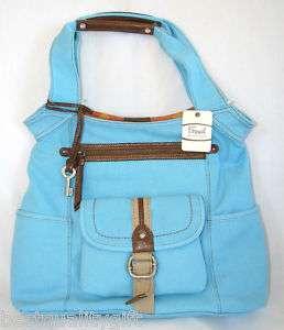 FOSSIL BB BIRDIE TRAVELER BLUE BELLE NS TOTE BAG NEW 756944358638