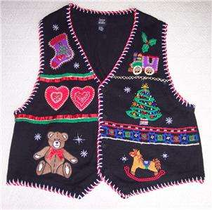 Plus Size 26 28 Ugly Christmas Sweater Vest Tree Holly