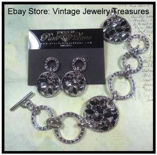 Park Lane Silver Black Jet Crystal Pendant~Bracelet & Pierced Earrings