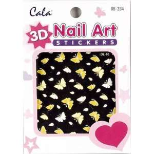 3D Nail Art Stickers x2 Packs Yellow Butterfly #86284+ Aviva Nail File