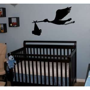 Wall Art Decal Sticker Flying Stork Bird with Baby on Board 20 X 30