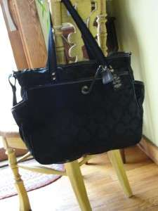COACH~$428~Black OP ART~Laptop LEATHER~Diaper~SIGNATURE~Bussiness Tote