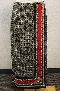 Talbots Black/Tan/Red Chain Link Look Full Length Wrap Around Look