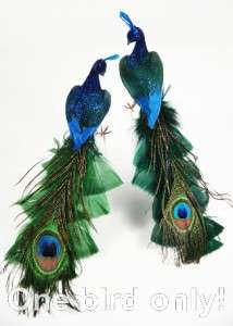 Stunning Glitter Blue/Green PEACOCK Wedding Feather Tree Christmas