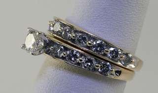 18 DIAMOND 14K YELLOW GOLD ENGAGEMENT RING WEDDING BAND SET