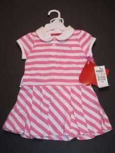 Puma Girl Pink White Striped Dress 18 m New