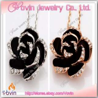 18K Gold Swarovski Crystal GP Black Rose Flower Necklace Set N004
