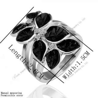 18K Gold Swarovski Crystal GP Black Flower Earring&Ring Set K003