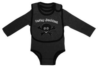 Harley Davidson Motorcycles Rebel Club Skull Long Sleeve Baby Snapsuit
