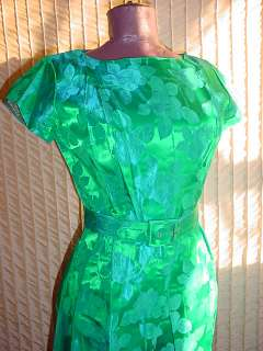 Vintage 1950s Green Blue Brocade Cocktail Dress w Belt sz Small