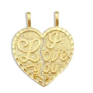 I Love You Breakable Two Heart Pendant 14k Yellow Gold