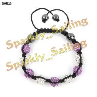 10mm CZ Disco Ball(9Pcs) Crystal Macrame Bracelets+30 Mixed Colours