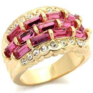 Gold Plated Brass Ring with Rose CZ, 6 Jewelry