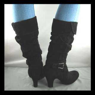 NEW BLACK CHUNKY HIGH HEEL SLOUCH BOOTS