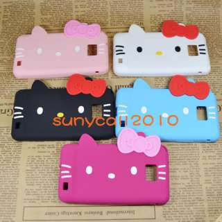 hello kitty cute bow ear soft silicone cover case for i9100