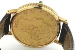 18K/22K GOLD DOUBLE EAGLE LIBERTY COIN SWISS QUARTZ MENS WATCH W