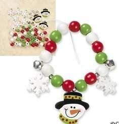 Snowman Wooden Charm Bead Bracelet Kit Snowflake