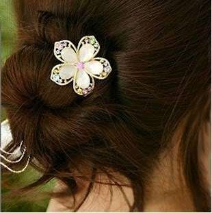 Hot Korean Fashion Cute CRYSTAL FLOWER WEDDING BRIDAL HAIR PIN Z969