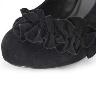 SHOEZY womens black ruched flower suede platform high heels pumps