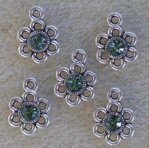Silver Daisy Flower Bead Charms Swarovski Erinite Rhinestone Chaton