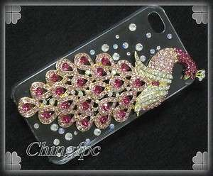 Super Bling High Quality Crystal Peacock Case Cover for Apple iPhone 4