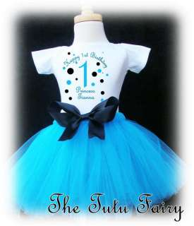 bright blue black Birthday Girl shirt & tutu set outfit personalized