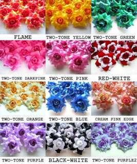 24X Two Tone Color Roses Artificial Silk Flower Head Lot 1.75 for
