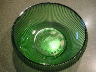 Brody Co. Green Ribbed Glass Bowl Cleveland O. U.S.A.