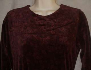 LL BEAN Womens 4P Cranberry Red Wine Long Sleeve Velvet Knit