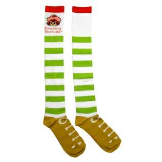 This is a pair of striped knee high socks with a bright and colorful