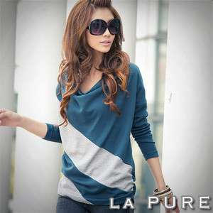 Batwing Long Sleeve T Shirts Tops & BlousesStrip Tee Shirts