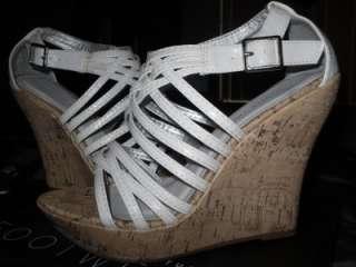 Russe white strappy platform heels sandals wedges size 8