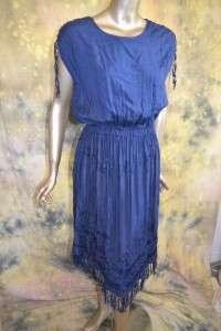 vtg 70s SEXY navy blue FRINGE ties CHEVRON HEM midi dress sz S