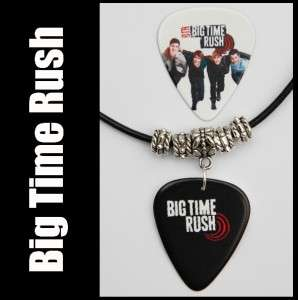 BIG TIME RUSH Guitar Pick Black Leather Necklace + Pick