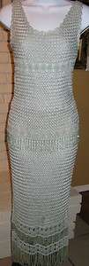 NWT Cache Mint Green/Blue 2 Pc Beaded Crocheted Skirt Dress Outfit Sz