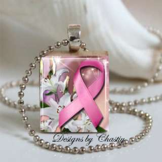 Breast Cancer Awareness Pink Ribbon Scrabble Charm Pendant Necklace