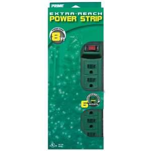 Prime PB001508 Six Outlet Green Power Strip with 8 Foot