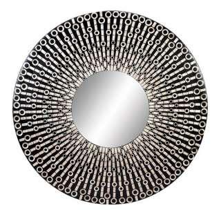 Black and White ROUND CAPIZ SHELL MOSAIC MIRROR 59Diam